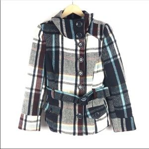 Last Kiss Plaid Belted Pea Coat Size Small
